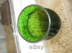Beau Vase Art Nouveau Montjoye Acide Or Argent Verre Legras Galle
