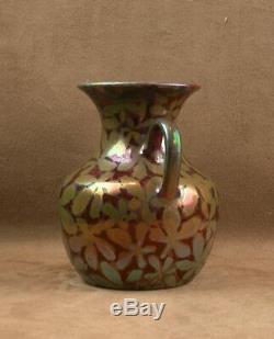 Beau Vase En Céramique Irisée Art Nouveau Signé Clément Massier Golfe Juan