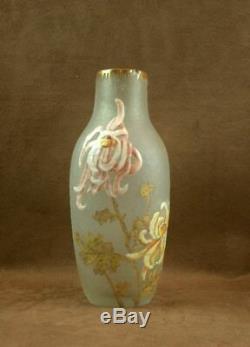Beau Vase En Verre Givré A L'acide Et Emaillé Legras Montjoye Art Nouveau