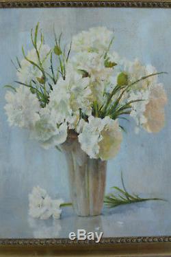 Beau tableau ancien Bouquet de fleurs Oeillets Blanc vase art nouveau nature XXé