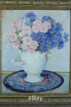 Beau tableau ancien Bouquet de fleurs Oeillets vase art nouveau nature M XXéme