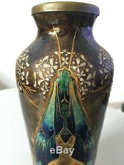 Beau vase Art Nouveau emaux cuivre émaillé Limoges Bonnaud Camille Faure