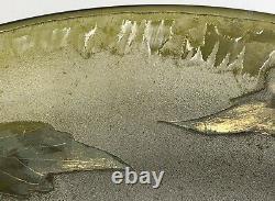 Belle coupe verre dégagé acide branchages fleuris LEGRAS Art-Nouveau Signé Vase