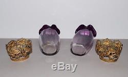 Belle paire de vases en verre époque Art Nouveau vers 1900