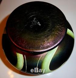 Betty Heldrich Porschinger JUGENDSTIL vase en verre irisé émaillé
