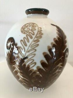 Camille Tharaud Limoges France Art Nouveau Vase en Porcelaine aux fougères