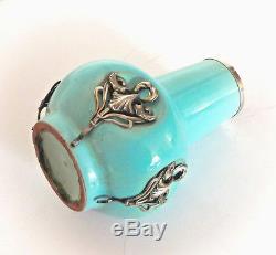 Charmant petit vase en céramique et argent d'époque Art-Nouveau vers 1900