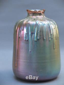 Clement Massier Rare Gros Vase Irise Art Nouveau 1900 Cf Zolnay, Accident Col