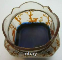 Coupe Art Nouveau, vase court carré, pâte de verre décoré de lapin chasseur