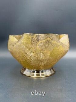Coupe verre Art Nouveau feuillages gravés acide dorure c. 1900 Antique glass cup