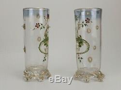 Cristallerie d'Emile Gallé, Paire de Vases à décor de Salamandres Emaillées