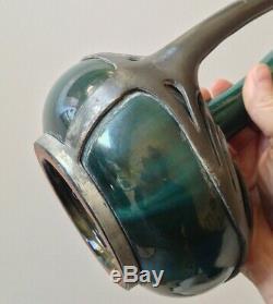 Curieux Vase en Céramique Grés Flammé Art nouveau et Etain Massier
