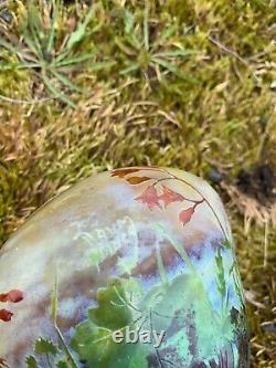 DAUM France VASE Circa 1900 Signe ART NOUVEAU Decor Degage a l'acide Fleurs ART