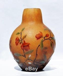 DAUM NANCY GROS Vase Cognassier du Japon Pâte de Verre Gravé Émaillé Art Nouveau