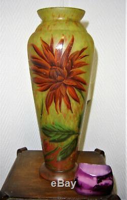 DAUM Nancy grand vase signé DAUM pate de verre art nouveau 36 cm