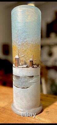 Daum Frères Nancy Vase Paysage Hivernal Art Nouveau