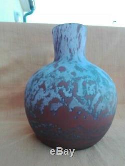 Daum Lorrain Grand Vase en pâte de verre multicouche nuagé Art Déco Nouveau