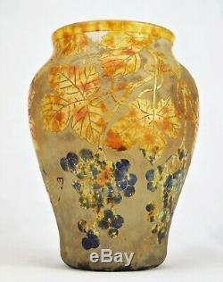 Daum Nancy Beau Vase Pampres de Vigne Verre Gravé & Vitrification de Poudres