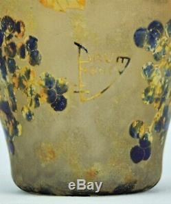 Daum Nancy Beau Vase Pampres de Vigne Verre Gravé & Vitrification de Poudres