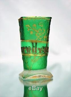 Daum Nancy Beau Vase Parlant Verre à Absinthe Gravé Patiné doré ART NOUVEAU