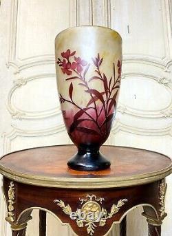 Daum Nancy Grand Vase De 37 Cm En Pate De Verre Art Nouveau