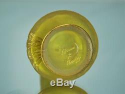 Daum Nancy Précieux Vase Parlant Décor Iris Verre Gravé Coloré Or Art Nouveau