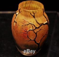 Daum Nancy Rare Vase Miniature Paysage Hivernale Art Nouveau Debut 20 Eme C833