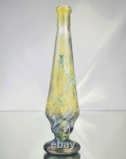Daum Nancy Rare Vase aux Anémones des Près Verre Gravé Vitrifié Art Nouveau