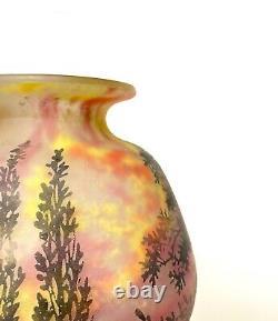Daum Nancy Vase Boule A Decor Darbres, Art Nouveau Pate De Verre