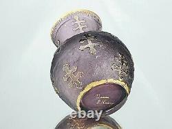 Daum Nancy Vase Boule Croix de Lorraine Verre Gravé Doré à l'Or Art Nouveau