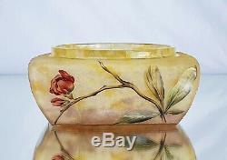 Daum Nancy Vase Coupe Décor Cerisier du Japon Verre Gravé Émaillé Art Nouveau