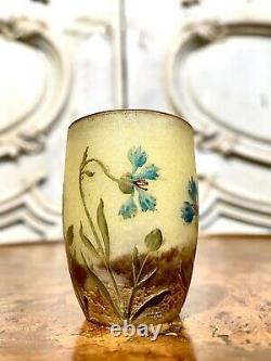 Daum Nancy Vase Miniature Aux Bleuets, Pate De Verre Art Nouveau