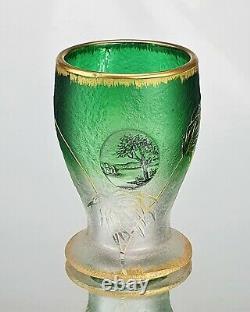 Daum Nancy Vase Miniature Papyrus & Cabochon Verre Gravé Emaillé Art Nouveau