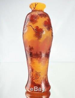 Daum Nancy Vase Paysage Lacustre Automnal Verre Gravé Émaillé Art Nouveau