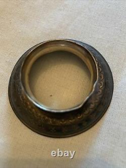 Daum vase Art nouveau miniature Chardon travail à lacide émaillé-socle Argent
