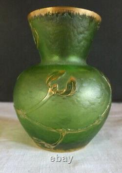 Daum vase art nouveau email or