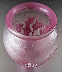 David GUERON-Degué-Vase art nouveau, décor de chardons à l'acide, daum, gallé