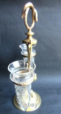 Double Porte-bouquet Art Nouveau, Héron bronze doré et 2 vases cristal ciselé