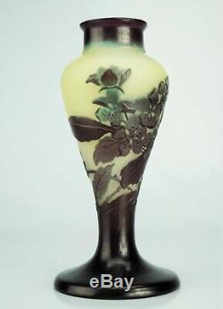 EMILE GALLÉ Beau VASE Pommier du Japon Pâte de Verre Gravé ART NOUVEAU 16cm