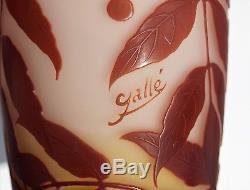 EMILE GALLÉ Grand & Gros Vase Décor BAIES Pâte de Verre Gravé ART NOUVEAU 31cm
