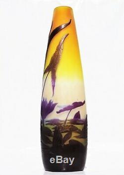 EMILE GALLÉ Haut Vase à décor de Nénuphars Pâte de Verre Gravé ART NOUVEAU