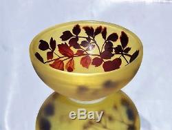 EMILE GALLÉ NANCY Rare BOL Vase Coupe Noisetier Pâte de Verre Gravé ART NOUVEAU