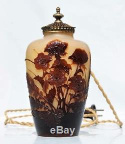 EMILE GALLÉ Nancy VEILLEUSE en Pâte de Verre Gravé Lampe ART NOUVEAU vase