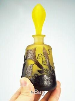 EMILE GALLÉ Rare Vase Flacon décor Volubilis Pâte de Verre Gravé ART NOUVEAU