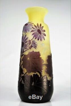 EMILE GALLÉ Sublime Vase à décor MARGUERITES Pâte de Verre Gravé ART NOUVEAU