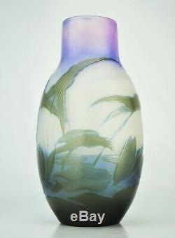 EMILE GALLÉ Sublime Vase à décor Nénuphars Pâte de Verre Gravé ART NOUVEAU