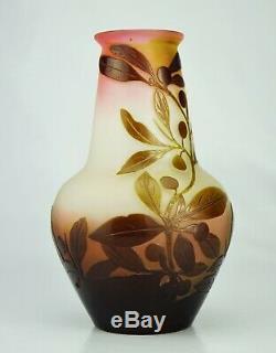 EMILE GALLÉ Sublime Vase à décor Prunellier Pâte de Verre Gravé ART NOUVEAU