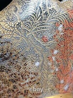 ERNEST LEVEILLÉ ANCIENNE COUPE / VASE VERRE GUILLOCHÉ ET DORÉ art nouveau 20th