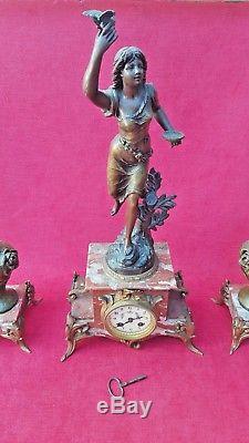 Emile BRUCHON (1806-1895) Horloge Pendule Art Nouveau 2 vases Marbre cheminée