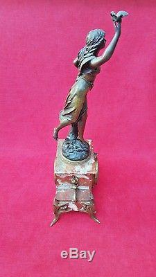Emile BRUCHON Horloge Statue de cheminée & 2 Vases Pendule Art Nouveau mouvement